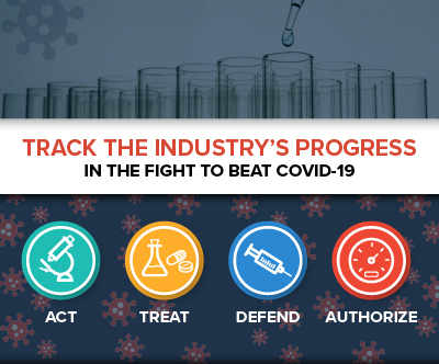 "A graphic with text reading ""Track the indsutry's progress in the fight to beat COVID-19"" with the words act, treat, defend, and authorize"