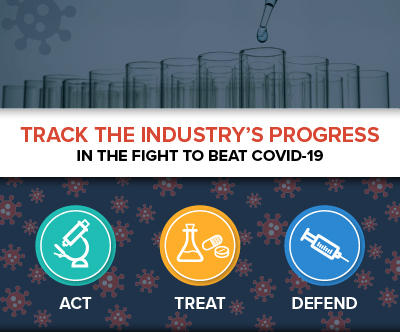 "An infographic call to action image, reading ""Track the Industry's Progress"" on one line, and ""in the fight to beat COVID-19"" on another line. Below are icons of a microscope, flask and medicine pills, and a syringe, above the words act, treat, and defend. Track America's Biopharmaceutical Companies in their fight to beat COVID-19"