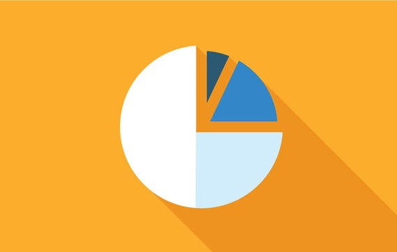 Graphic of a pie chart on a yellow background, with two slices of the pie highlighted in blue colors