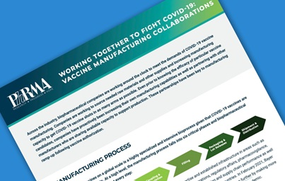 A teaser image of PhRMA's COVID-19 Vaccine Manufacturing Collaborations fact sheet