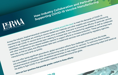 "A graphic showing the first page of PhRMA's fact sheet entitled ""How Industry Collaboration and Partnerships are Supporting COVID-19 Vaccine Manufacturing"""
